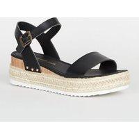 Black Leather-Look Espadrille Flatform Sandals New Look