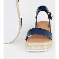 Navy Leather-Look Espadrille Flatform Sandals New Look