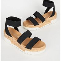 Black Elastic Ankle Strap Cork Flatform Sandals New Look
