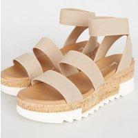 Pale Pink Elastic Ankle Strap Cork Flatform Sandals New Look