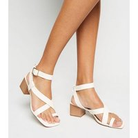 Off White Leather-Look Strappy Block Heel Sandals New Look