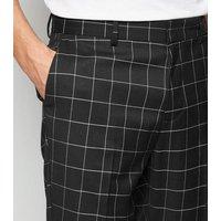 Men's Dark Green Check Skinny Crop Trousers New Look