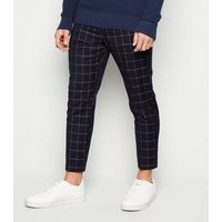 Men's Navy Check Skinny Cropped Trousers New Look