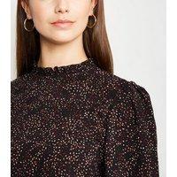 Tall Black Spot Frill Neck Shirred Mini Dress New Look