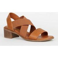 Wide Fit Tan Elastic Strappy Low Heel Sandals New Look Vegan