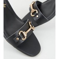 Wide Fit Black Leather-Look Bar Strap Sandals New Look