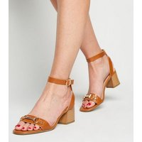 Wide Fit Tan Leather-Look Bar Strap Sandals New Look