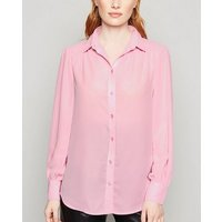 Bright Pink Ruched Shoulder Longline Shirt New Look
