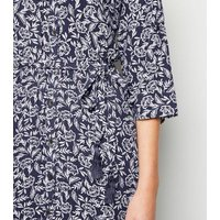 Apricot Navy Floral Long Sleeve Midi Dress New Look