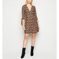 Apricot-Black-Floral-Tie-Sleeve-Skater-Dress-New-Look