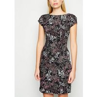 Apricot Pink Leaf Bodycon Dress New Look