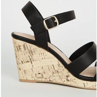 Wide Fit Black Leather-Look Cork Wedges New Look Vegan