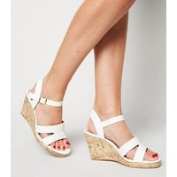 Wide Fit White Leather-Look Cork Wedges New Look Vegan