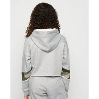Girls Grey Camo Colour Block Hoodie New Look