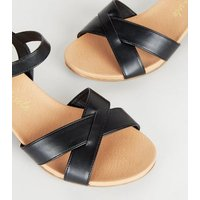 Wide Fit Black Leather-Look Cross Strap Sandals New Look Vegan