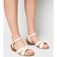 Wide Fit Off White Leather-Look Cross Strap Sandals New Look Vegan