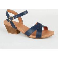 Wide Fit Navy Leather-Look Cross Strap Sandals New Look Vegan