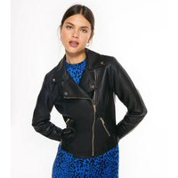 Black Leather-Look Quilted Biker Jacket New Look
