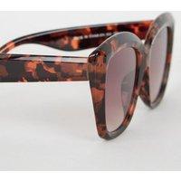 Dark Brown Faux Tortoiseshell Oversized Sunglasses New Look