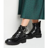 Black Faux Croc Lace Up Boots New Look