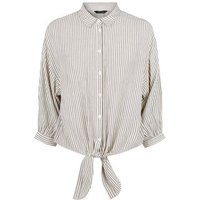 White Stripe Button and Tie Front Shirt New Look