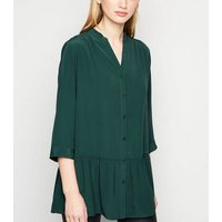 Dark Green Longline Peplum Shirt New Look