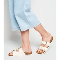 Off White Leather-Look Buckle Strap Footbed Sliders New Look