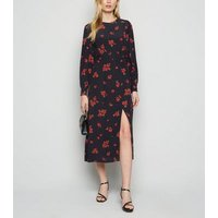 Black Rose Print Puff Sleeve Midi Dress New Look
