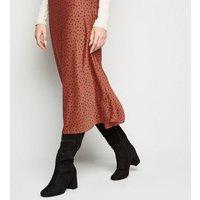 Rust Spot Satin Bias Cut Midi Skirt New Look
