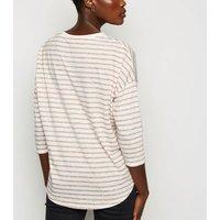 Brown Stripe 3/4 Sleeve Boxy T-Shirt New Look