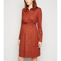 Maternity Brown Leopard Print Shirt Dress New Look