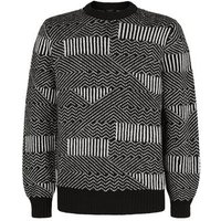Black Abstract Stripe Crew Jumper New Look