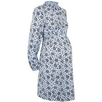 Maternity Blue Butterfly Print High Neck Dress New Look