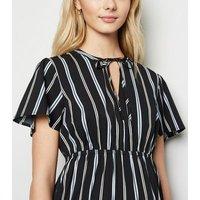 Maternity Black Stripe V Neck Mini Dress New Look