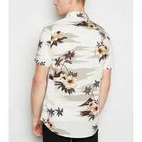 Men's Off White Tropical Floral Short Sleeve Shirt New Look