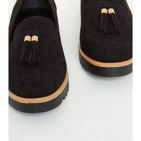 Black Suedette Tassel Trim Chunky Loafers New Look Vegan