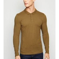 Camel Long Sleeve Muscle Fit Polo Shirt New Look