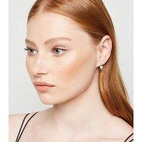 Silver Cubic Zirconia Heart Hoop Earrings New Look