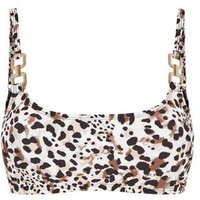 Brown Leopard Print Chain Crop Bikini Top New Look
