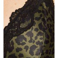 Khaki Leopard Print Satin Bralette New Look