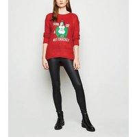 Red Elf Nut Cracker Slogan Christmas Jumper New Look