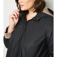 Curves Black Coated Spot Lined Mac New Look
