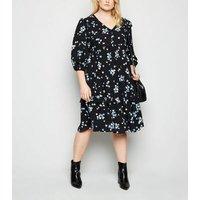 Curves Black Floral Frill Empire Dress New Look
