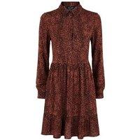 Brown Leopard Print Smock Shirt Dress New Look