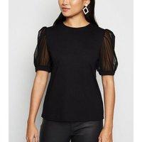 Petite Black Mesh Puff Sleeve T-Shirt New Look