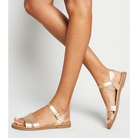 Wide Fit Rose Gold 2 Part Footbed Sandals New Look Vegan