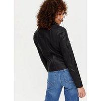 Black Leather-Look Zip Biker Jacket New Look Vegan
