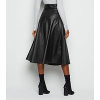 Black Coated Leather-Look Belted Midi Skirt New Look