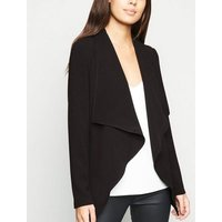 Black Waterfall Belted Waist Blazer New Look