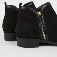 Wide Fit Black Suedette Zip Side Flat Ankle Boots New Look Vegan